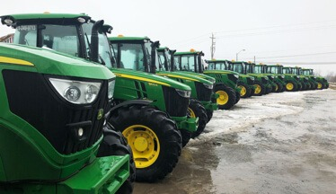 A fleet of snowplows foperated by Hunt Club East Snow & Lawn