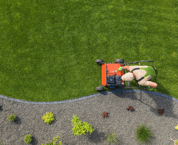 a perfectly mowed lawn finished with some lawn edging